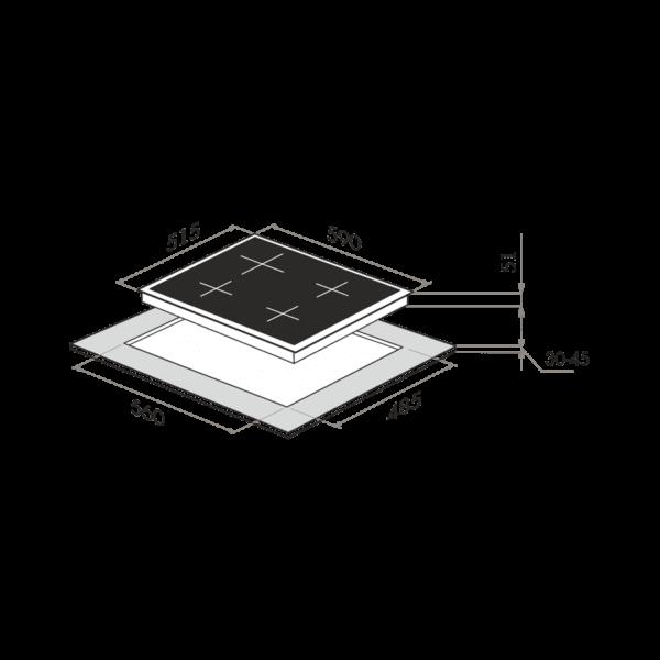 Газовая варочная панель MAUNFELD EGHG.64.1CBG/G-схема установки