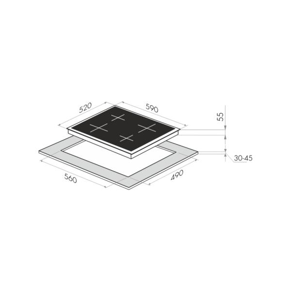 Индукционная варочная панель MAUNFELD EVI.594-BG-схема установки