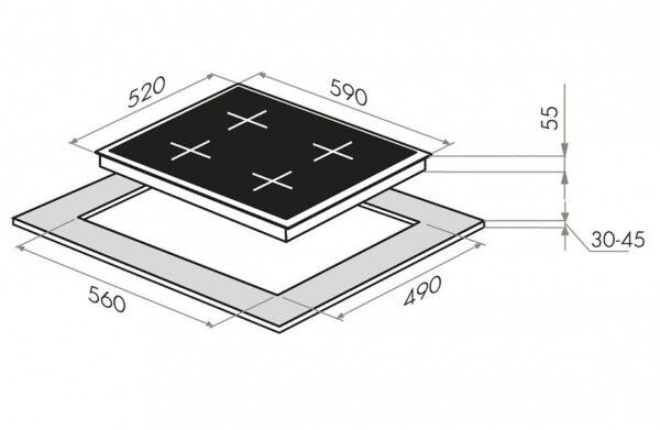 Индукционная варочная панель MAUNFELD EVI.594.FL2(S)-GR-схема установки