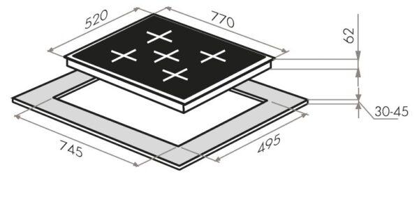 Индукционная варочная панель MAUNFELD EVI.775-FL2-BK-схема установки
