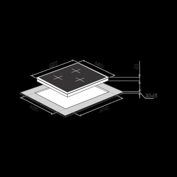 Индукционная варочная панель MAUNFELD MVI45.3HZ.3BT-WH-схема установки
