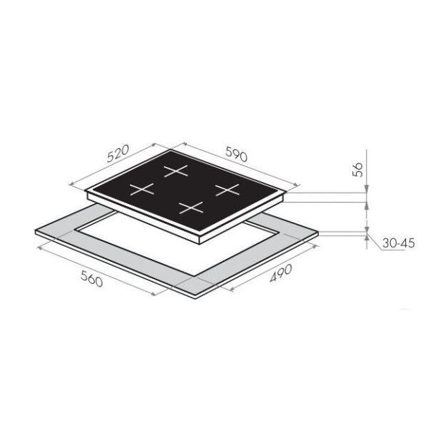 Индукционная варочная панель MAUNFELD MVI59.2FL-BK-схема установки