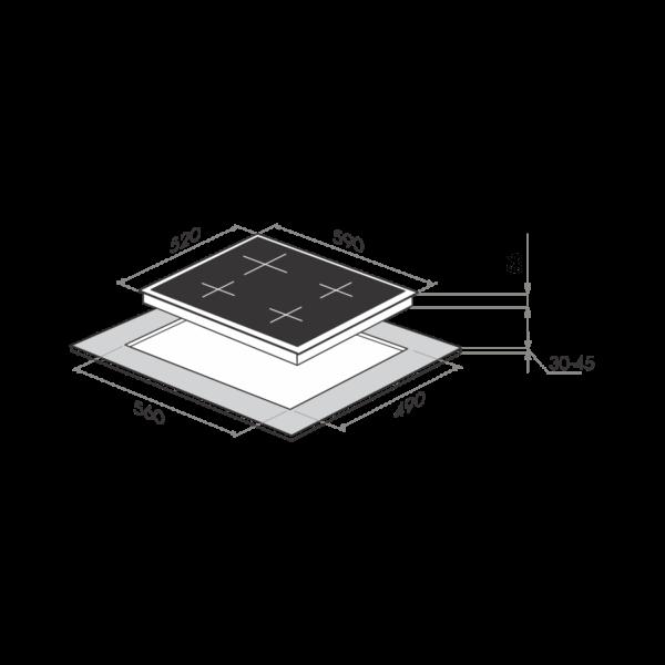 Индукционная варочная панель MAUNFELD MVSI59.4HZ-BK-схема установки