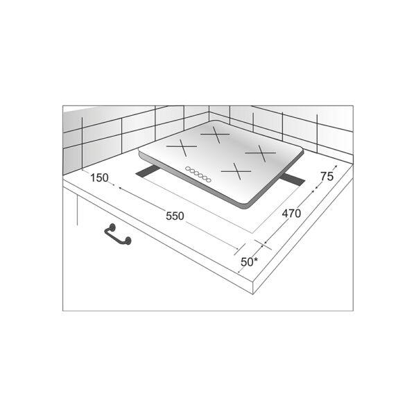 Газовая варочная панель EXITEQ EXH-201GI - Схема монтажа
