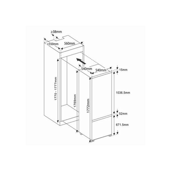 Встраиваемый холодильник Exiteq EXR-101 - Схема монтажа